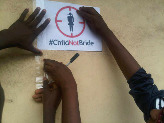 Signign of #ChildNotBride petition in Ibadan few hours ago